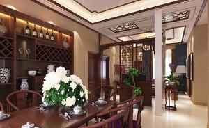中式风格大户型客厅餐厅隔断设计效果图赏析