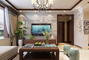 中式风格四居室客厅大理石电视背景墙效果图