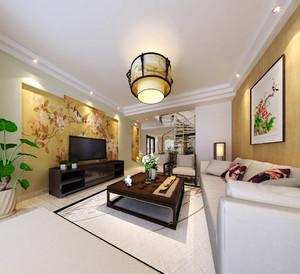 中式风格别墅客厅手绘墙效果图赏析