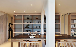 128平米中式风格书房餐厅隔断设计效果图