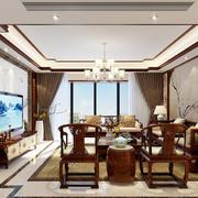 中式风格三居室正方形客厅装修效果图赏析