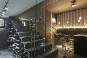 后现代风格复式楼楼梯酒柜设计效果图