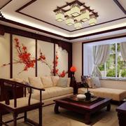 128平米中式风格客厅装修效果图赏析