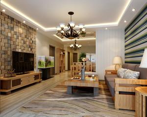 148平米美式田园风格客厅天花装修效果图