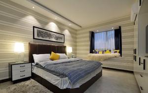 现代风格别墅卧室带飘窗设计效果图