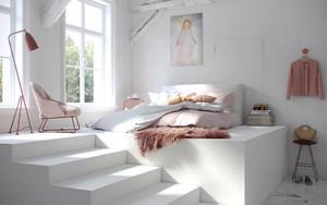 现代简约风格两居室纯白卧室设计装修效果图