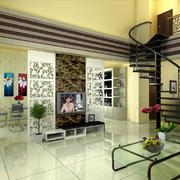 现代简约风格复式楼客厅餐厅隔断设计效果图