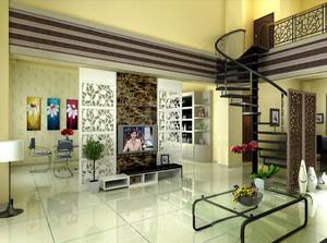 现代简约风格别墅客厅餐厅隔断设计效果图