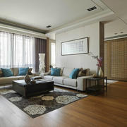 142平米现代中式风格客厅隔断设计效果图