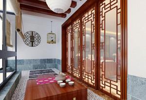 新中式风格自建别墅一楼阳台装修效果图