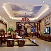 中式风格别墅长方形客厅装修设计效果图