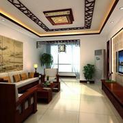 128平米中式风格红木客厅装修效果图