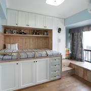 现代简约风格儿童房卧室飘窗效果图