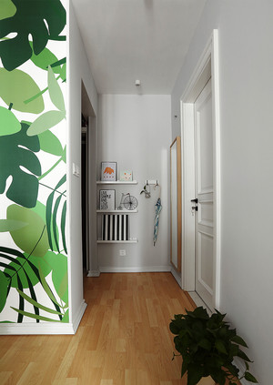 北欧风格一居室玄关背景墙效果图赏析