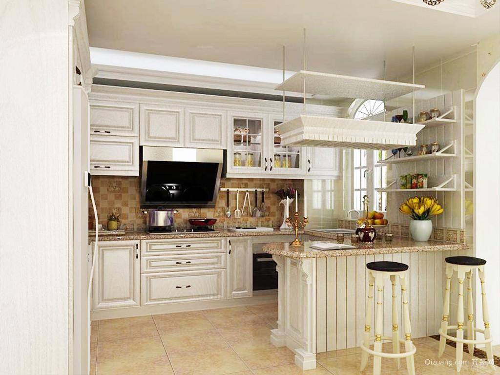 法式风格一居室厨房吧台设计效果图赏析