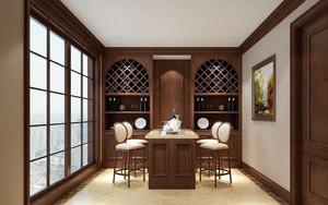 美式风格两居室餐厅酒柜设计效果图