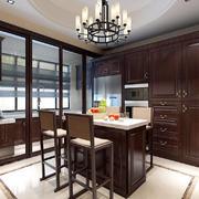 110平米美式风格餐厅厨房隔断设计效果图赏析