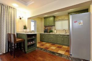 100平米美式混搭风格开放式厨房橱柜效果图