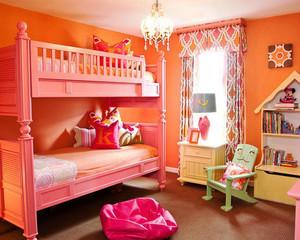 100平米现代简约风格创意儿童房双层床设计效果图