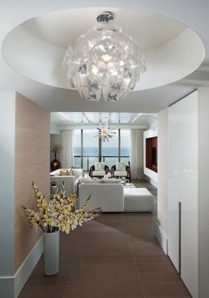 128平米现代简约风格圆形玄关吊顶设计效果图