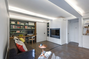 现代简约风格二居室客厅创意书架效果图