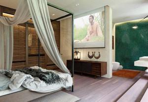 东南亚风格三居室主卧带卫生间装修效果图