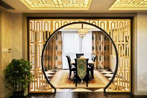 10现代中式风格餐厅隔断设计装修效果图