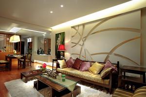 现代中式风格109平米三居室设计装修效果图