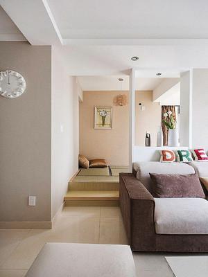 日式风格简约时尚客厅榻榻米隔断设计效果图