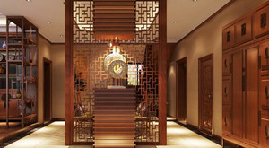 中式风格大户型客厅镂空隔断设计效果图赏析