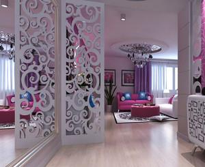 现代简约风格三室两厅客厅镂空隔断效果图赏析
