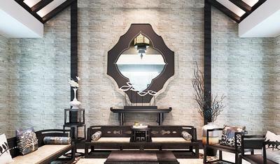仿古中式风格客厅背景墙设计装修效果图赏析