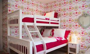 8平米简欧风格粉色主题儿童房双层床装修效果图