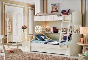 12平米现代简约风格儿童房双层床设计效果图赏析