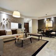 三居室现代简约风格客厅餐厅装修效果图鉴赏