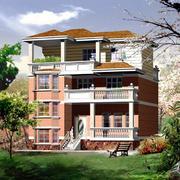 256平米现代风格农村自建三层别墅设计效果图