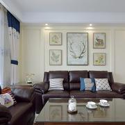 美式田园风格客厅沙发背景墙设计效果图