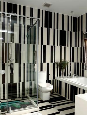 4平米现代简约风格黑白条纹瓷砖卫生间装修效果图