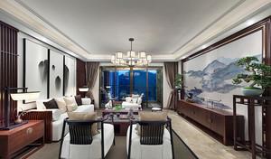大户型中式风格客厅挂画设计装修效果图