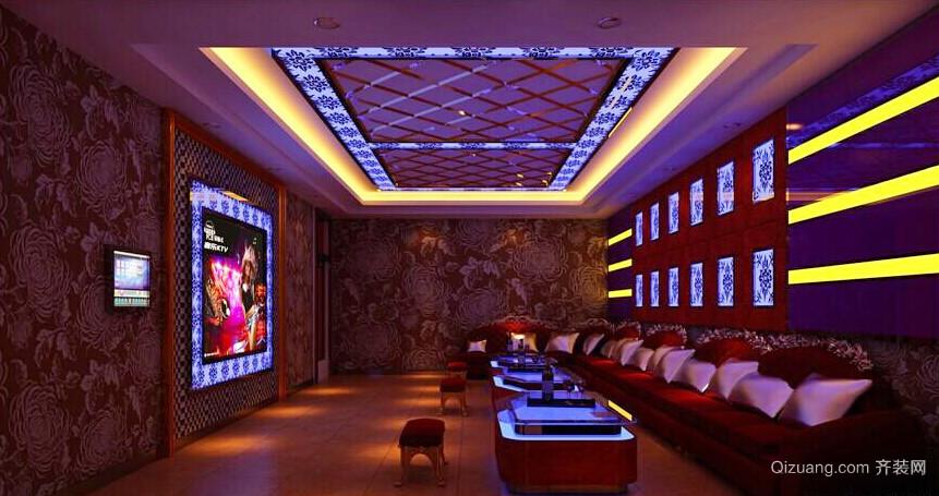 60平米现代风格时尚创意大包厢KTV装修效果图