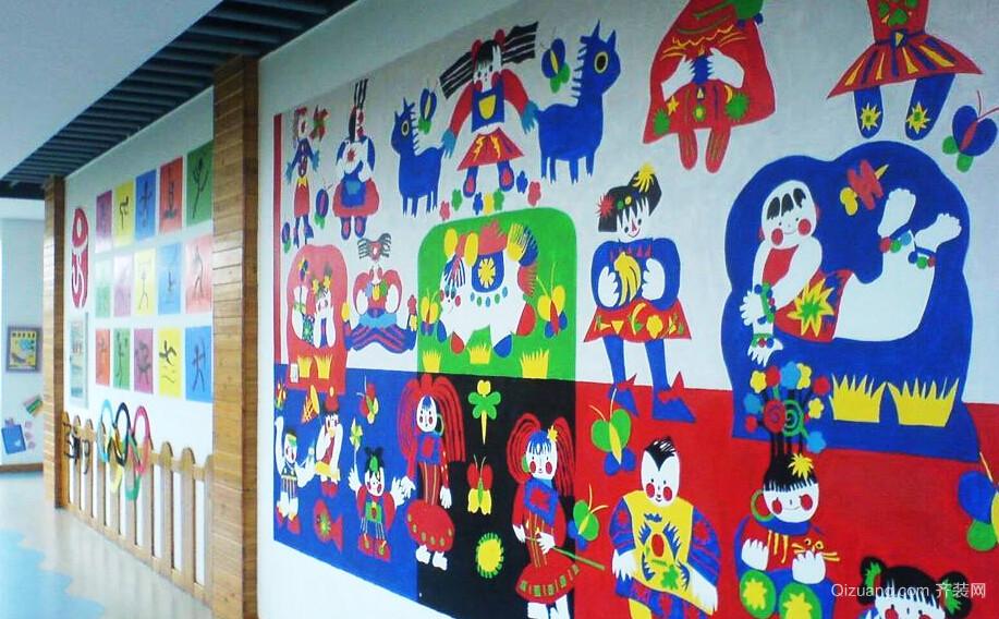 96平米时尚混搭可爱幼儿园手绘墙装修效果图