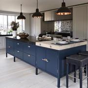 现代美式风格开放式厨房吧台装修效果图