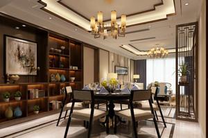 现代简约中式风格大户型餐厅博古架装修效果图
