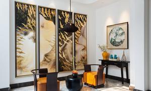 后现代中式风格客厅挂画装修效果图赏析