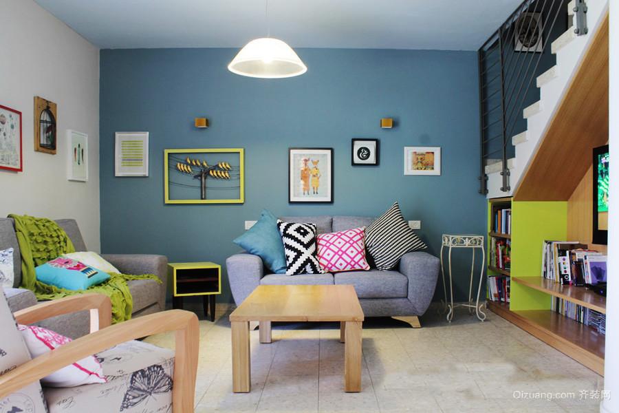 40平米宜家简约风格跃层客厅照片墙装修效果图