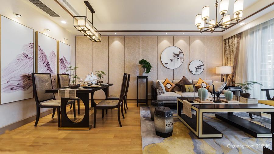 20平米现代简约中式风格开放式客厅餐厅装修效果图