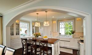 欧式风格复式楼厨房吧台装修效果图鉴赏