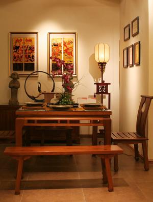 92平米古朴自然中式风格两室两厅装修效果图