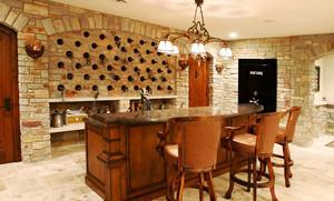 30平米美式乡村风格别墅厨房吧台装修效果图