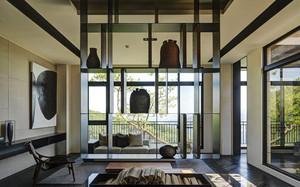 后现代中式风格别墅客厅博古架隔断装修效果图